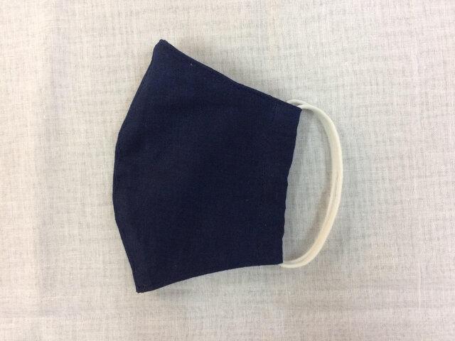 天然藍染立体マスク(耳掛けゴムタイプ)の画像1枚目