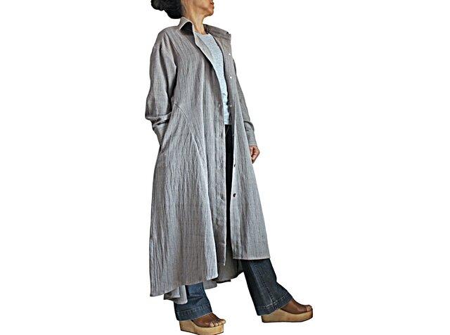 ジョムトン手織り綿天然草木染めシンプルドレスコート(DNN-104-03)の画像1枚目