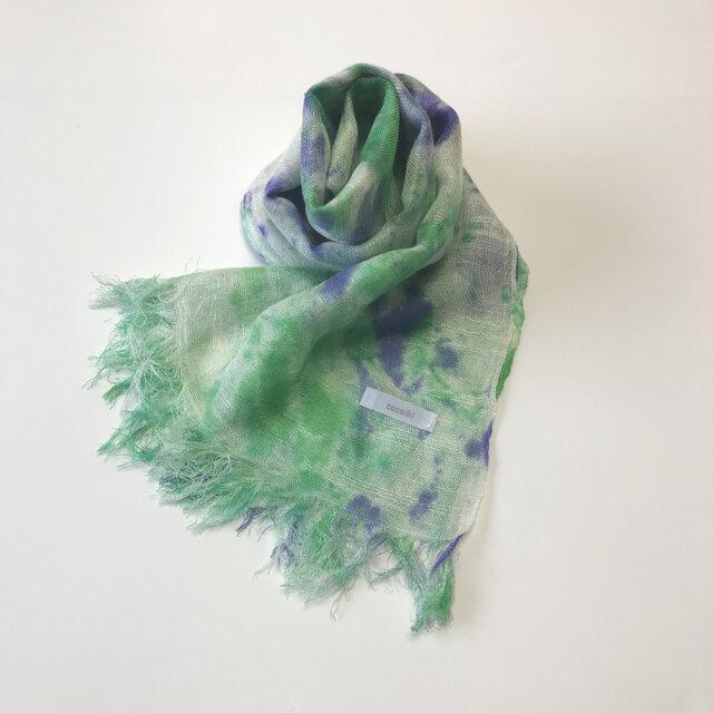 国産シルク100%手描き染めストール blue&greenの画像1枚目
