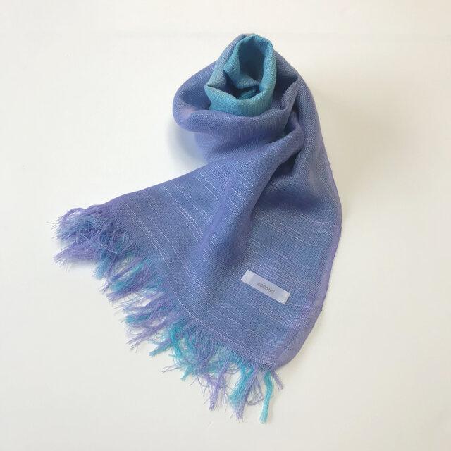 国産シルク100%手描き染めストール blue&purpleの画像1枚目