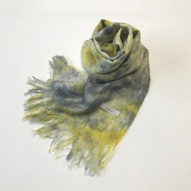 国産シルク100%手描き染めストール yellow&grayの画像1枚目
