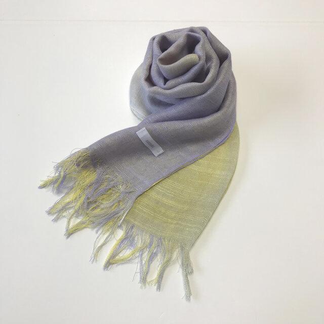 国産シルク100%手描き染めストール purple&yellowの画像1枚目