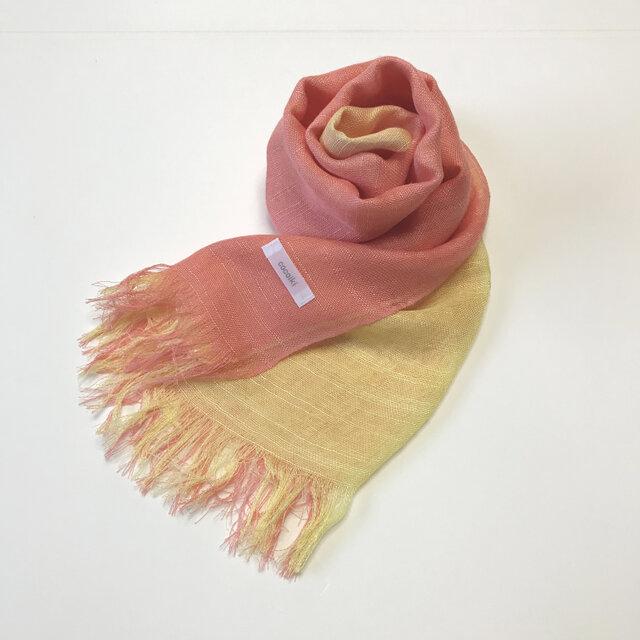 国産シルク100%手描き染めストール pink&yellowの画像1枚目