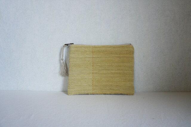 裂き織りのフラットポーチ [草木のいろ・ローズマリー]の画像1枚目