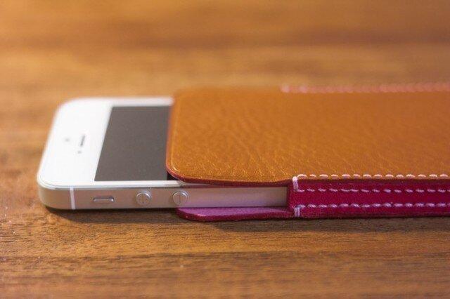 iPhoneレザーケース(ブラウン×ピンク)の画像1枚目