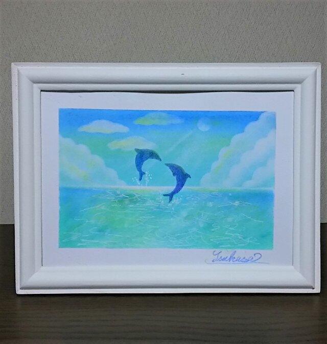 海とイルカのパステルアート 心地よく晴れた日の画像1枚目
