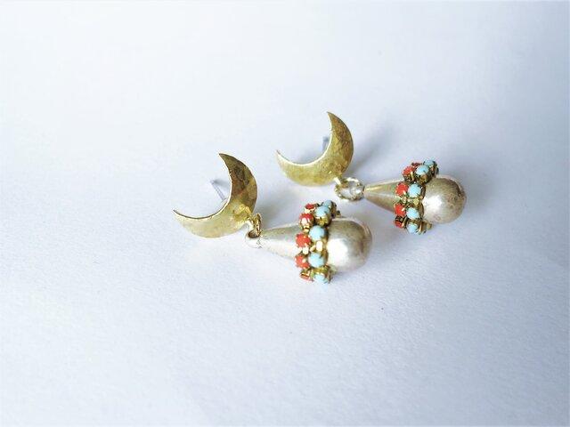 ドロップピアス ターコイズ×コーラル vintage drop earrings <PE12-0420>の画像1枚目