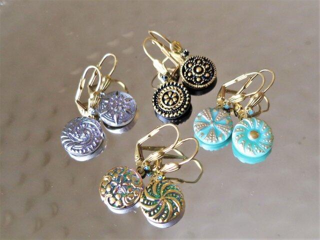 ヴィンテージガラスボタン ピアス vintage btn earrings <PE8-0420>の画像1枚目
