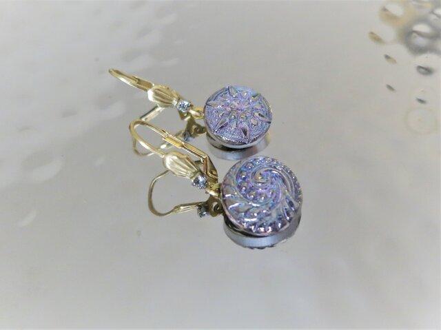 ヴィンテージガラスボタン ピアス vintage btn earrings <PE6-0420>の画像1枚目