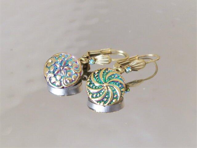 ヴィンテージガラスボタン ピアス vintage btn earrings <PE9-0420>の画像1枚目