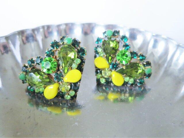 ヴィンテージビジューイヤリング ハート vintage earrings bijou <ER2-0420>の画像1枚目