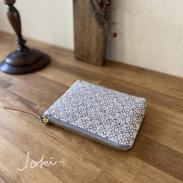 pouch[手織りミニポーチ]ライトグレーの画像1枚目