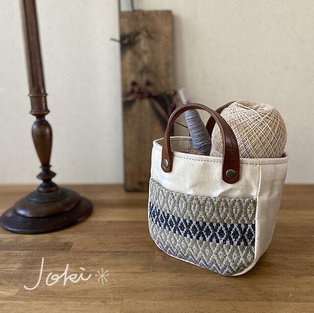 手織りポケットmini pot bag オフ白の画像1枚目