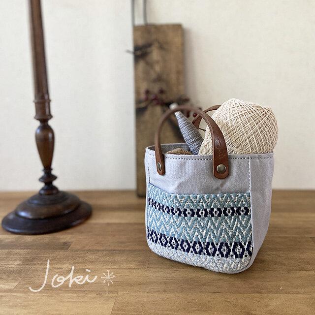 手織りポケットmini pot bag グレーの画像1枚目