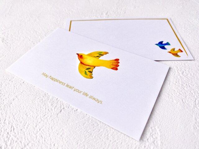 メッセージカードセット(小鳥A・5組+1枚)送料無料の画像1枚目