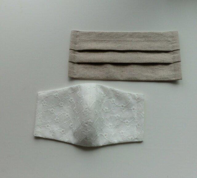 【2枚セット】夏向き薄地 2種のナチュラルマスク(レース・リネン)受注制作の画像1枚目