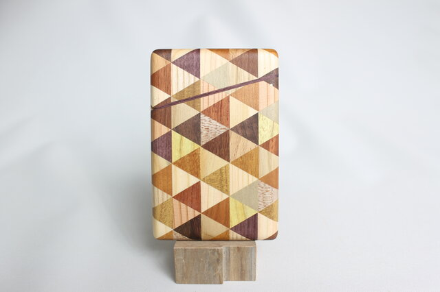 寄木の名刺入れ・三角チェックの画像1枚目