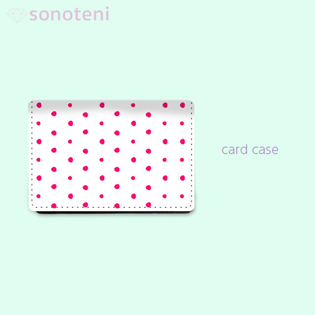 大容量 カードケース 名刺ケース 手描き ランダム ドット 水玉 2 ピンク 【受注生産】#213-ccの画像1枚目