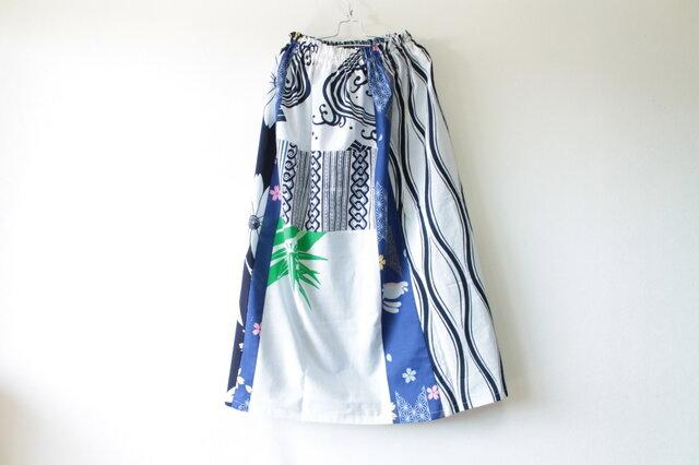 ☆浴衣ロングスカート☆パッチワーク&ステッチ♪/31ys77の画像1枚目