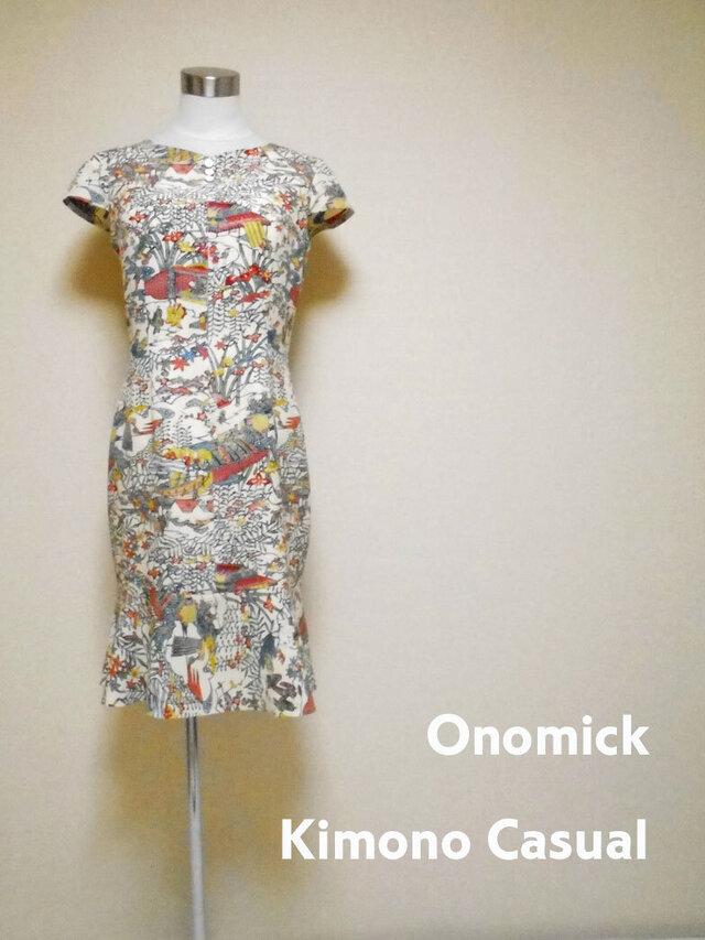 着物マーメイドワンピース Kimono Mermaid dress LO-221/Mの画像1枚目