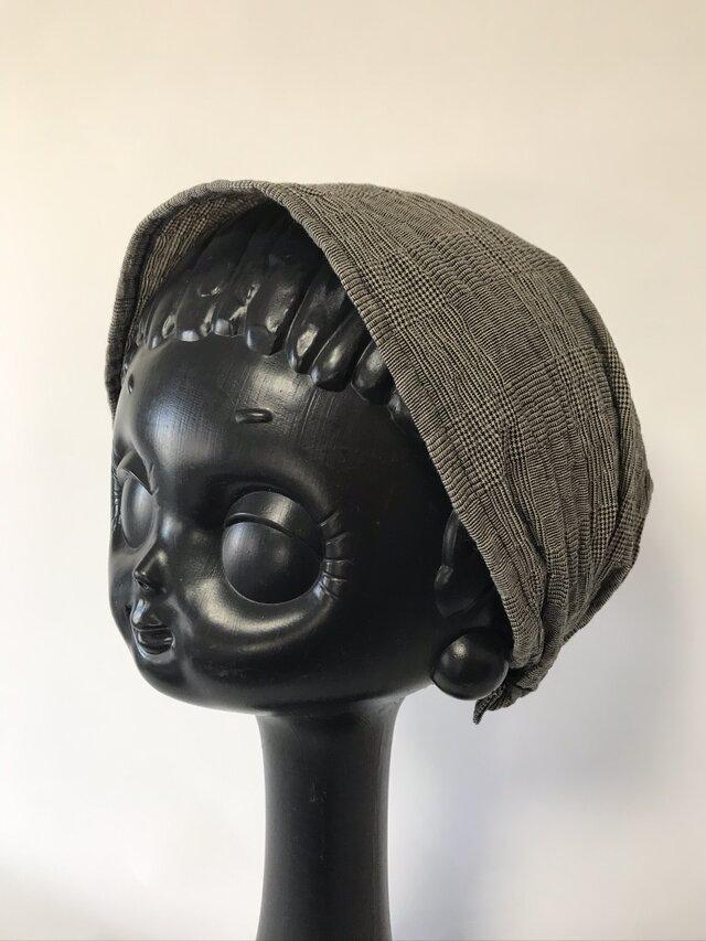 ターバン風帽子 Sサイズ (グランチェック)の画像1枚目