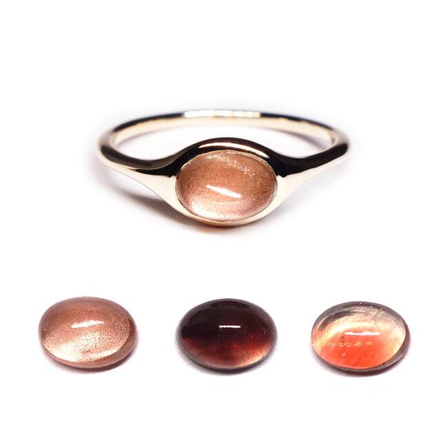 産直オレゴンサンストーンK10オーバルリング【Pio by Parakee】Oregon sunstone ovalの画像1枚目