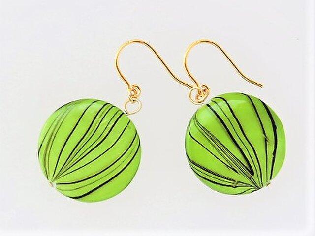 【フックピアス】丸型・新緑柄・シンプル・シェル・金♪の画像1枚目