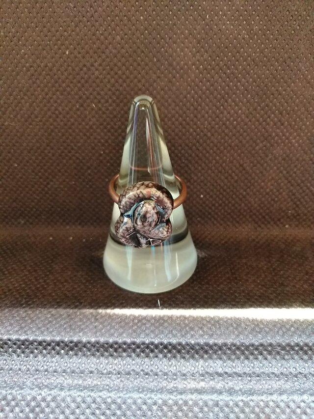 動物石 リング ヘビ(紫色)の画像1枚目