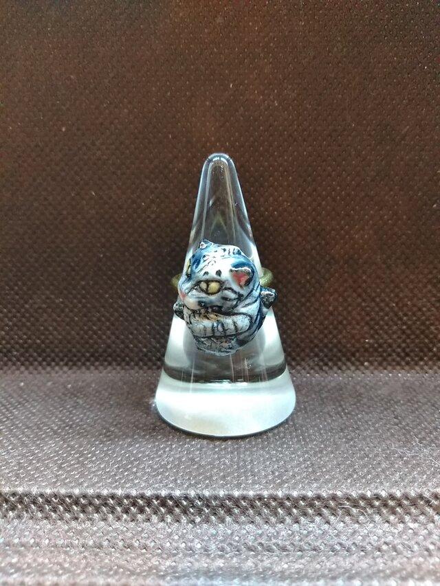動物石 リング ちょびら(灰色)の画像1枚目