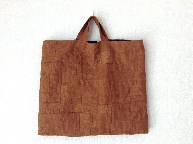 つないでつないで柿渋かばん /リネン/レトロ/太陽染め/トートバッグの画像1枚目