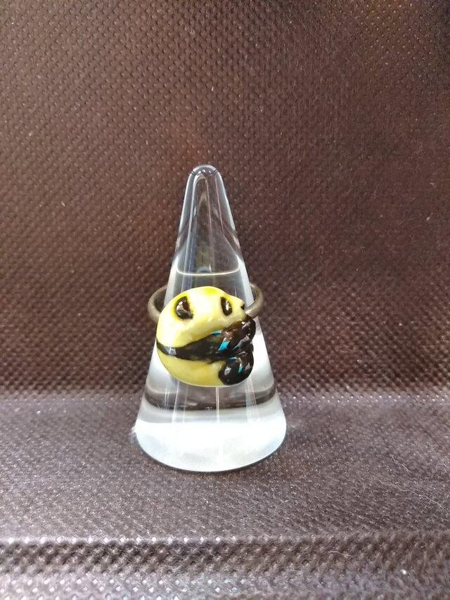 動物石 リング パンダ(黄色)の画像1枚目