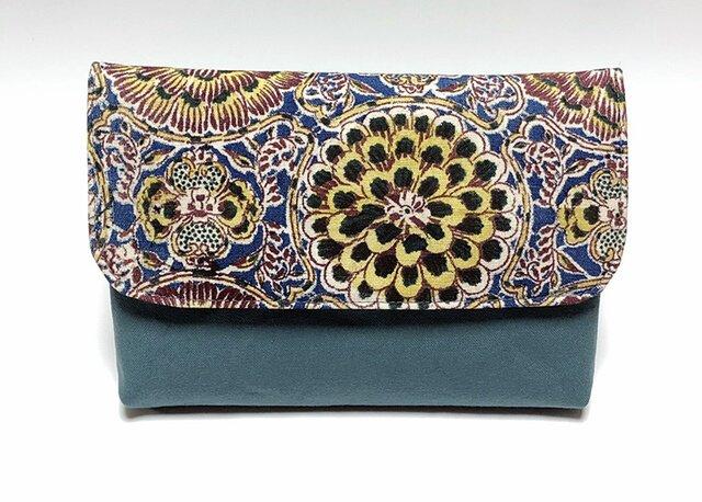 和更紗の数寄屋袋(青)の画像1枚目
