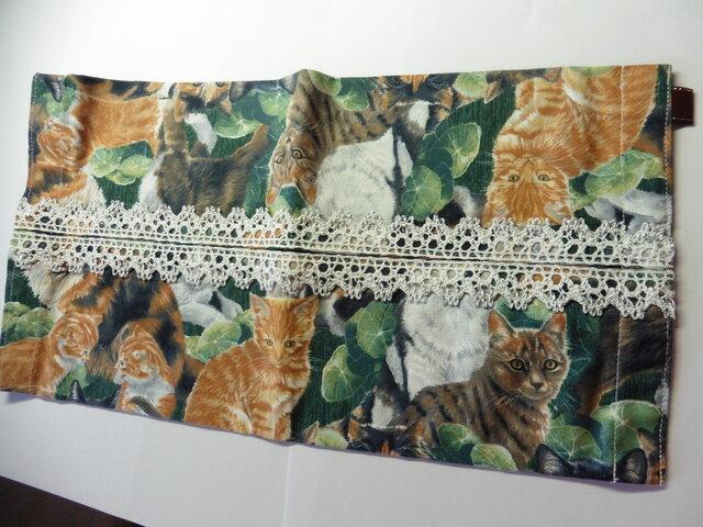 廃盤 グリーン 猫 ★ティッシュボックスカバーの画像1枚目