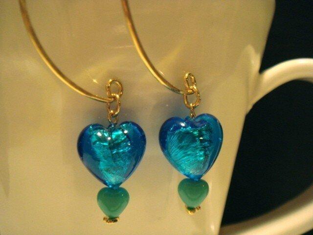 Heart of glass earring(blue)の画像1枚目