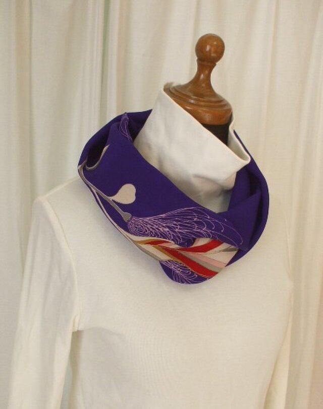 アンティーク着物錦紗縮緬からのスヌード 絹の画像1枚目