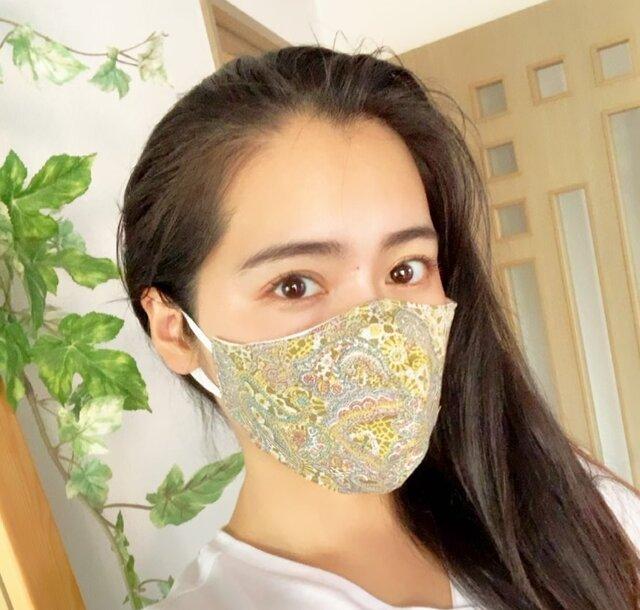 リバティ風・夏涼しい立体型マスク・フィルターポケット付き・綿・マスク・夏・涼しい・夏用マスク・冷感の画像1枚目