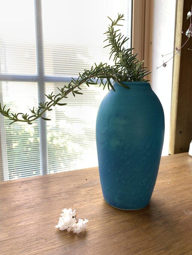 花瓶 ターコイズブルーeの画像1枚目