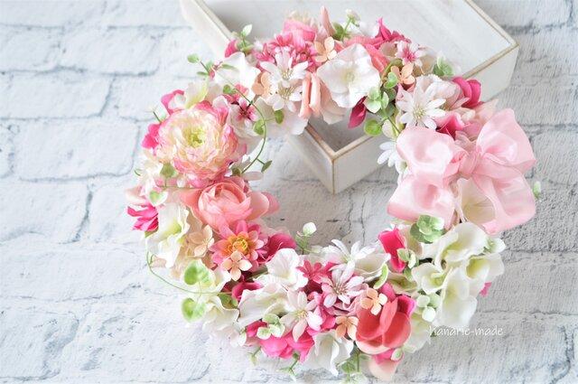 ふんわり あかるく ピンクの花々:wreathの画像1枚目