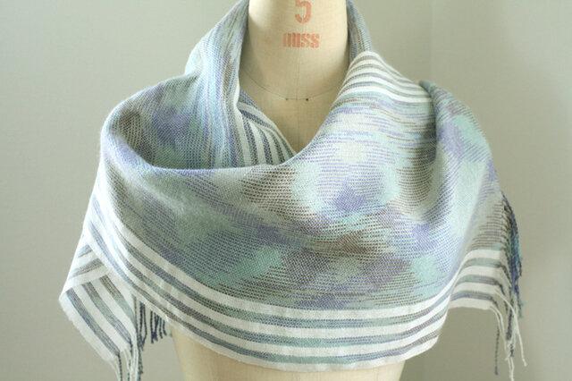 手織り 段染め糸によるアーガイル模様のストールの画像1枚目