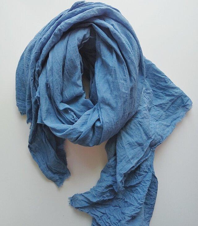 ふんわり♪コットン100% インド藍染めストール 大判 草木染めの画像1枚目