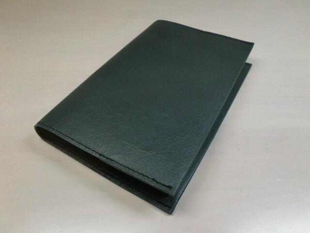 ハヤカワ文庫トールサイズ対応・ピッグスキン・黒鉄色・一枚革のブックカバー・0434の画像1枚目