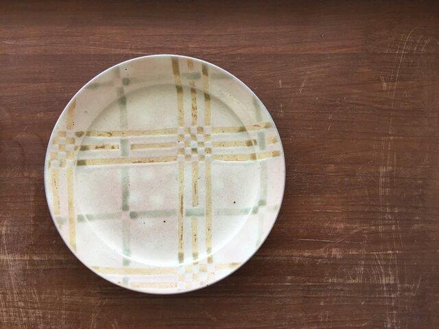 リム8寸皿 釉彩格子 黄の画像1枚目
