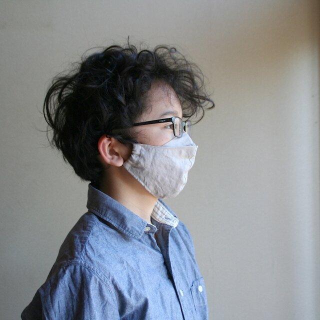 【size M】めがねが曇らない リネンのマスク【グレージュ】Pure linen face maskの画像1枚目