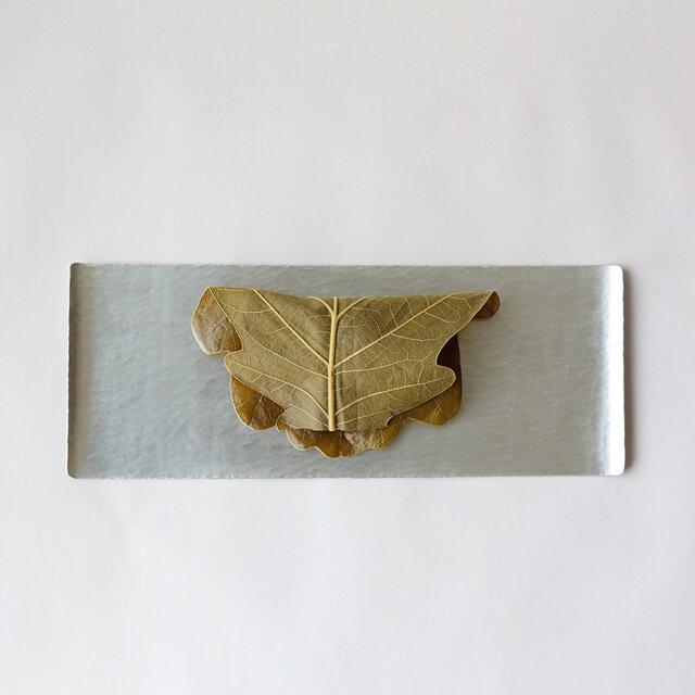鎚目模様の角小盆 [ 錫めっき ]の画像1枚目