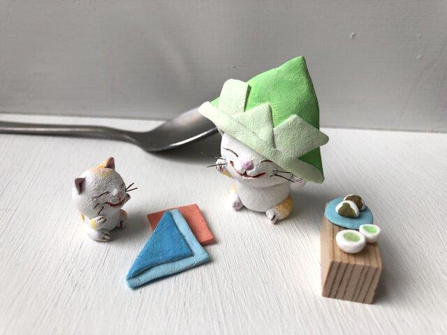 (再販)カブト大きめ猫さんコンビ受注制作の画像1枚目