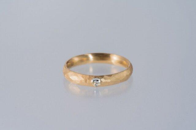 【ストック】ダイヤモンド原石 メイカブルの槌目のリング 表側の画像1枚目