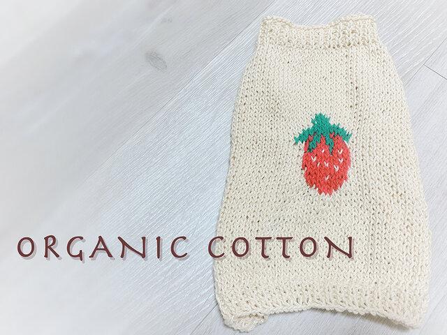 [オーガニックコットン・春夏] いちごのセーター(小型犬用・胴回り40)【オーダー可】の画像1枚目