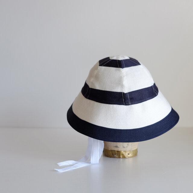 セーラーハット ボーダー リネン 【 白 に 紺 】 マリン / sailor hat linen <受注制作>の画像1枚目
