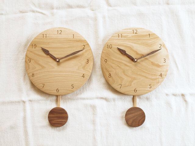 「gomaさまご注文品」木製 振り子時計 栗材 2個セットの画像1枚目