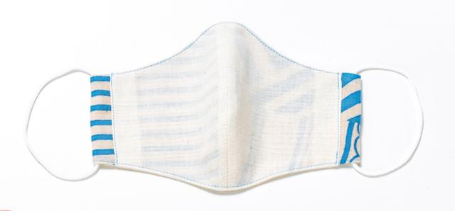 Mサイズ/布マスク(潮目の重ね縞/薄青)の画像1枚目